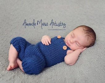 Baby Overalls & Hat - Newborn Photo Props - Knitted Pants Beanie Hat U Choose Color Size