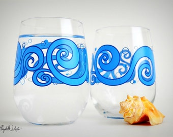 Ocean Waves Stemless Wine Glasses - Set of 2 Beach Themed Wine Glasses, Beach Wedding, Ocean Wedding, Tropical Wedding, Blue Wave Glasses