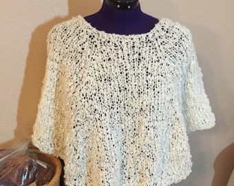Ivory Poncho, Hand Knit in Chunky Yarn