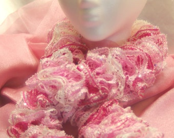 Hand knitted Ruffle Scarf in Different Shades of Pink and White Yarn edged with iridescent sequince'