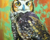 Owl painting 113 24x30 inch original oil painting by Roz