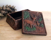 1940s Cigarette Box Rustic Deer in Forest Vintage Tobacciana Trinket Jewelry Box Syroco Faux Bois Fake Wood Container Red Brown Tree Bark