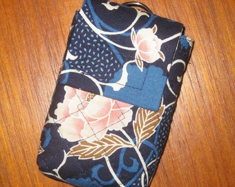 Peonies Travel Medication or Jewelry Holder with Quilted Japanese Fabric Case Blue