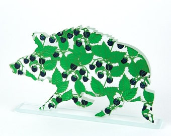 Blackberry Wild Boar Enamel Print Glass Sculpture