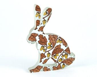 Autumn Acorns Hare Glass Sculpture Screen Printed Enamel Custom
