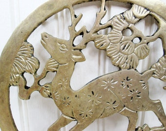 Vintage Metal Deer Trivet Buck Stag Forest Kitchen Wall Hanging Decor