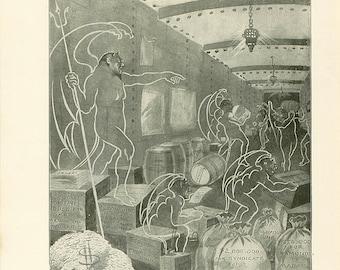 Vintage Print Satan The Devil Christian Book Antique Illustration 1911 Demons Bribes Sins