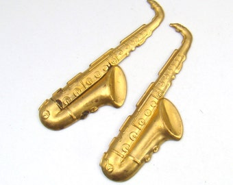 2 pcs vintage brass saxophone stampings, heavy gauge sax musical instruments 58mm