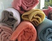2 Hand Dyed Cotton Gauze Swaddle Blankets - Choose Your Colors