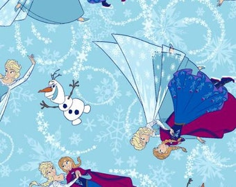 Disney Frozen Ice Skating Toss With Glitter 533221600715 cotton fabric Sold by the 1/2 Yard
