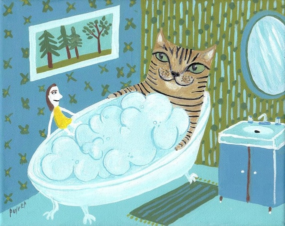Tiger cat in art print 8x10 whimsical bubble bathroom wall for Bathroom ideas 8x10