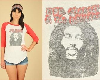 ViNtAgE 70's 80's RARE Bob Marley & The Wailers Raglan 3/4 Sleeve  T-Shirt HiPPiE Reggae OnE LoVe S/M