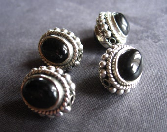Black Onyx and Sterling Silver Set beads - matching pair - semiprecious stone