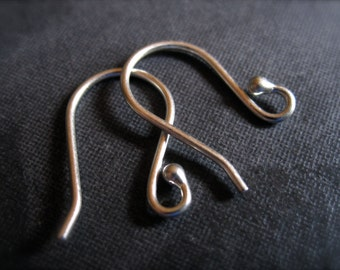 Brushed Small Size Sturdy Solid Sterling Silver french ear wires - simple design