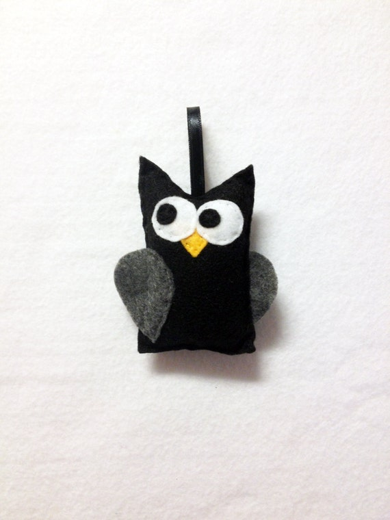 Owl Ornament, Ornament, Halloween Ornament, Christian the Black Owl, Christmas Ornament