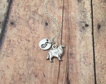 Collie initial necklace - collie dog charm necklace, dog jewelry, collie jewelry, dog necklace, Sheltie necklace, silver collie necklace