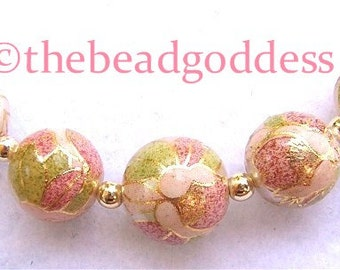 New Graduated Japanese Tensha Beads PINK BLOSSOM on PEARL 10, 12 &14mm