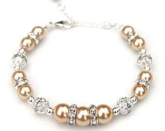 Bridesmaid Bracelet, Light Gold Pearl Rhinestone Bridesmaid Bracelet, Bling Jewelry, Bridal Jewelry