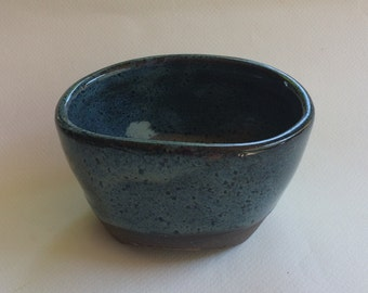 BLUE ceramic oval shaped pottery bowl, container,  serving dish, decorative and functional handmade, in stock  B52