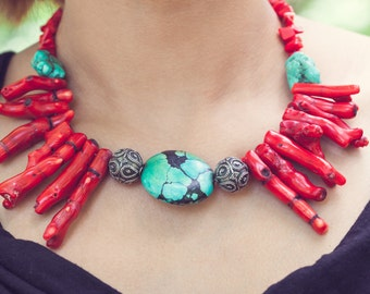Beautiful Red Coral and Turquoise