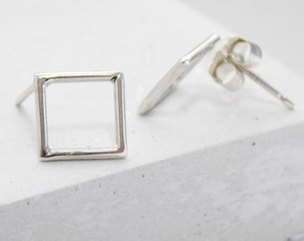 Square Stud Earrings | Geometric Post Earrings | Architectural Tiny Simple Earrings | Modern Petite | Sterling Silver