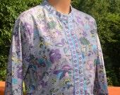 vintage 80s shirt FLORAL print jacket flower india women's button down blouse Medium tudor court