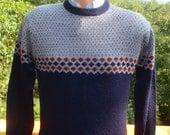 vintage 70s stripe SKI sweater alpine nordic acrylic yoke Medium Small navy gray preppy 80s