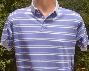 vintage 80s golf polo shirt STRIPE blue white land's end collar Large Medium soft preppy