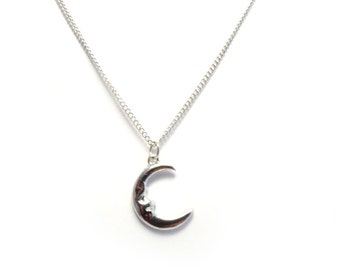 """Silver Moon Face 16/18"""" Chain Pendant, Pagan,Wicca,Occult,Celestial, Necklace"""