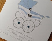 New Baby Congratulations Pram Illustration Card - New Parents or Grandparents