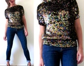 Vintage 70s 80s Rainbow Sequined Knit Sweater Blouse