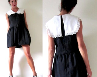Vintage 70s 80s Picture Day Black and White Peter Pan Collar Mini Dress (size medium, large)