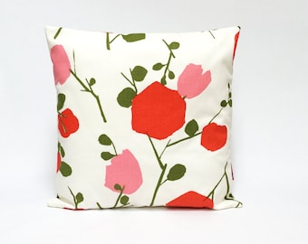 "Vintage fabric cushion cover, 70's, retro, throw pillow, 16"" x 16"""