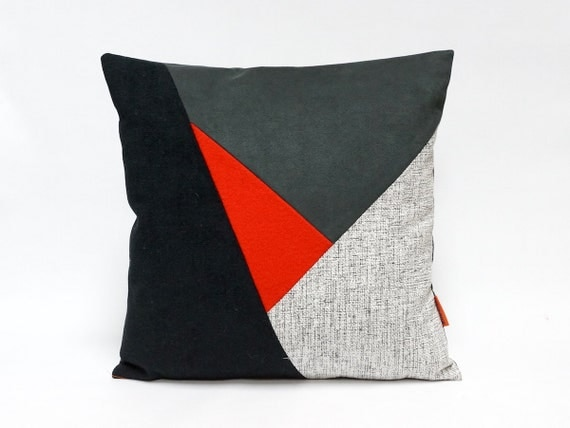Handmade Modern Pillow Covers : Color block Pillow Cover throw pillow handmade from by EllaOsix