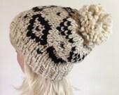 Slouchy Knit Hat, Women's Hat - Pom Pom Hat - Fair Isle Hat - Ski Hat - Chunky Hat - Ikat Aztec - Buckwheat with Black