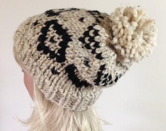 SALE Slouchy Knit Hat, Women's Hat - Pom Pom Hat - Fair Isle Hat - Ski Hat - Chunky Hat - Ikat Aztec - Buckwheat with Black