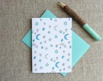 Letterpress Greeting Card - Everyday Notecard - Night Sky Illustration Pattern - EGP-190