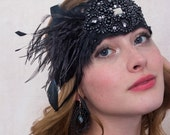 Louise Brooks Black Lace Flapper Feather Headband