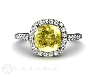 Cushion Lemon Quartz Ring Diamond Halo Engagement Ring Lemon Citrine 14K or 18K Gold Custom Gemstone Ring