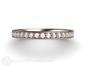 White Sapphire Wedding Ring Sapphire Anniversary Band Sapphire Ring 14K 18K Gold Platinum or Palladium