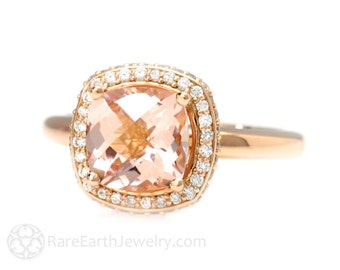 Diamond Halo Morganite Engagement Ring Cushion Cut Morganite Ring Custom