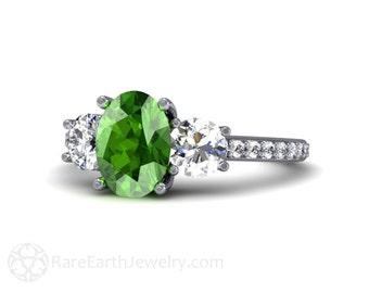 Tsavorite Garnet Ring Diamond Green Garnet Engagement Ring 14K or 18K Gold 3 Stone Three Stone