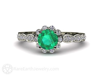 Emerald Engagement Ring 14K Diamond Halo Emerald Ring May Birthstone Custom Bridal Jewelry
