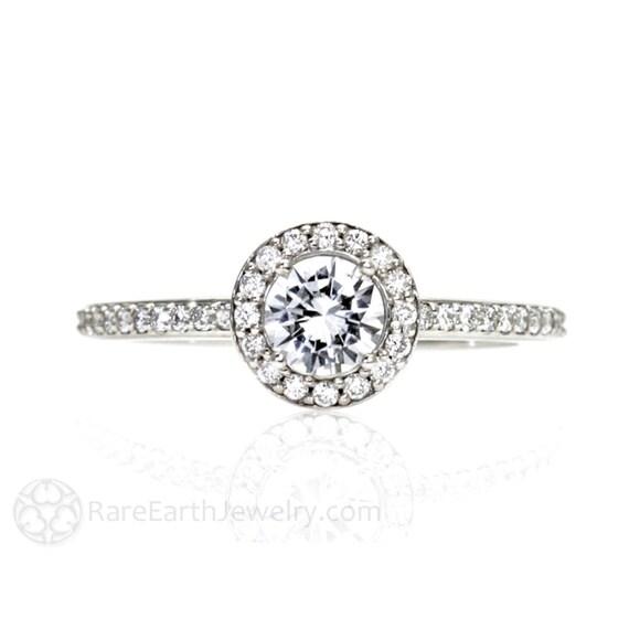 14K White Sapphire and Diamond Ring Halo Setting Sapphire Engagement Ring 14K White Yellow Rose Gold Custom Bridal Jewelry