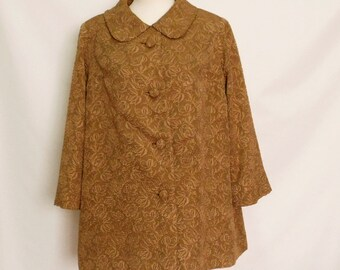 60% OFF Vintage brown Brocade silk ladies coat