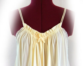 Buttery Soft Vintage Nightgown, Sweet Front Gathers with Bow, Double Skinny Straps, Lace, Long Vintage Gown, Feminine, Creamy, Pale Yellow