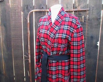 Vintage Red wool Plaid Robe red Tartan Wool wrap Robe red and black plaid robe  L XL