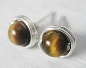 Simply Studs -- Tiger's Eye and Sterling Silver Wire Wrapped Stud Earrings 6mm