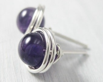 Amethyst Stud Earrings 6mm Birthstone Jewelry Wire Wrapped Sterling Silver --Simply Studs