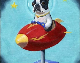 Canvas Boston Terrier in Space